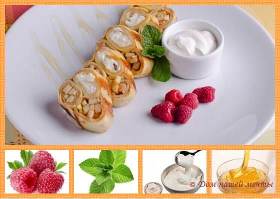 Масленица: блины с начинкой из бананов и яблок, изюма и творога