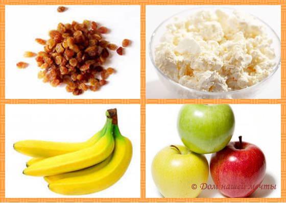 блины с бананом и творогом