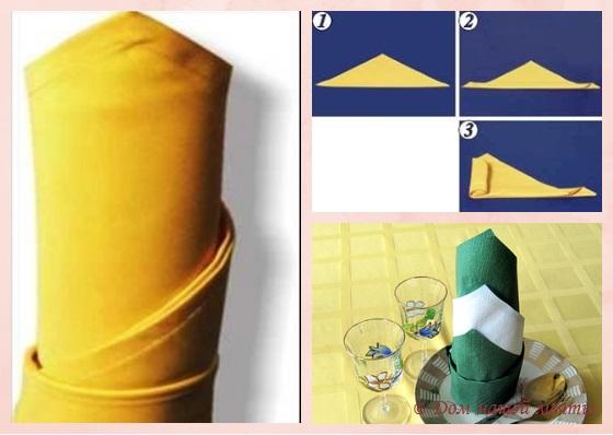 как сложить полотняные салфетки колонной