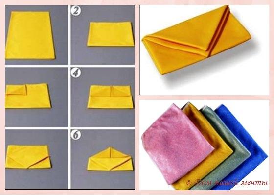 как правильно складывать салфетки сумочкой