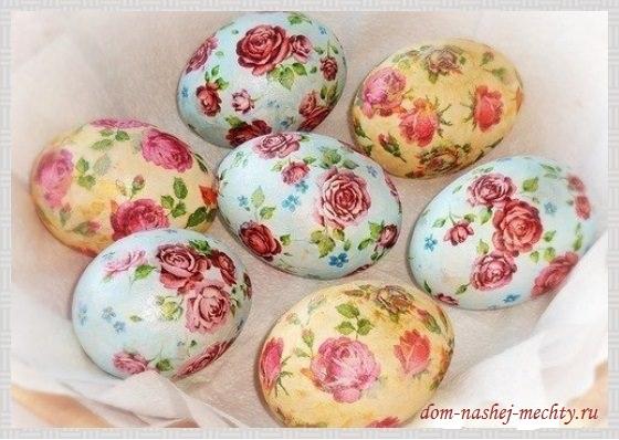 Декупаж яиц к Пасхе